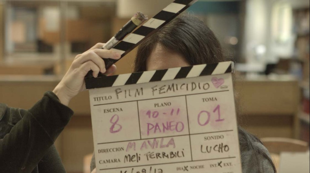 Shooting of the documentary at the National Library in Buenos Aires, in 2017.