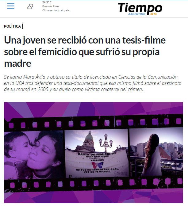 Captura de nota publicada en Tiempo Argentino el 18.12.18