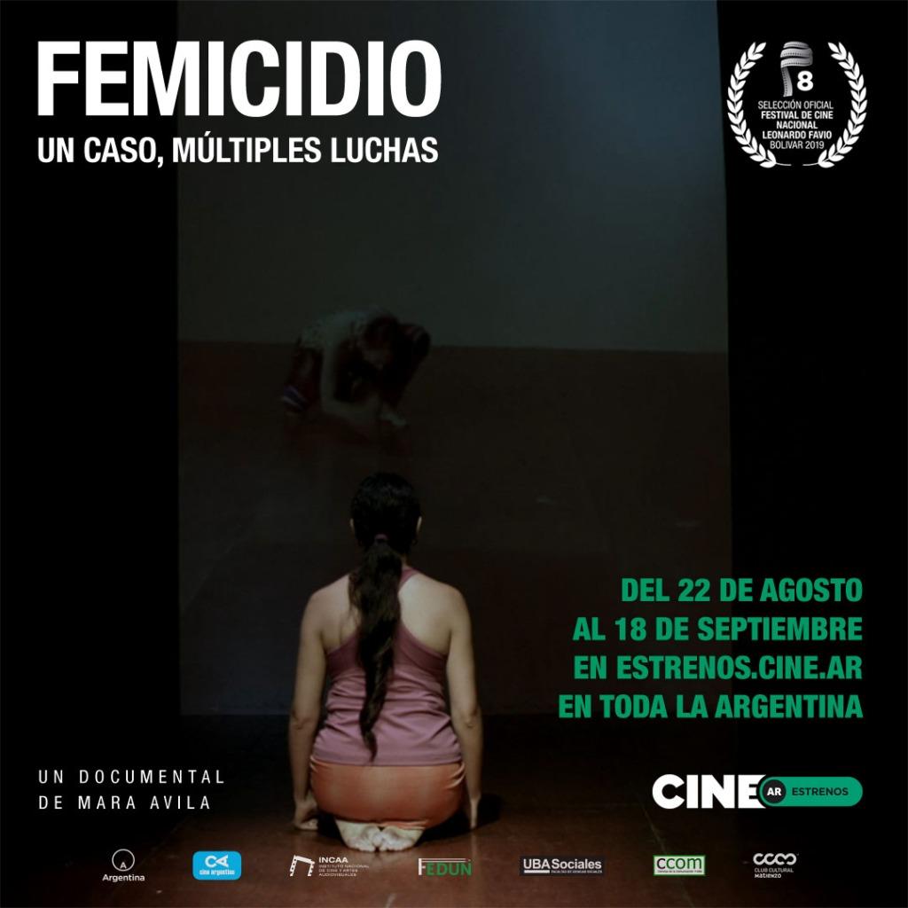 El film Femicidio. Un caso, múltiples luchas podrá verse online en la plataforma Cine.ar en septiembre de 2019.